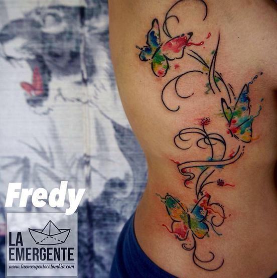 laemergente | TATUAJES | Tattoos | watercolor  | butterfly tattoo