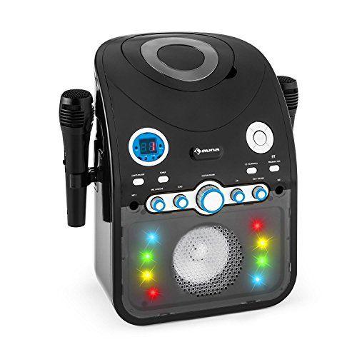 auna StarMaker Chaîne karaoké Bluetooth avec lecteur CD (8 LED multicolores, 2 micros inclus, effet lumineux multicolore LED) – noir: Le…