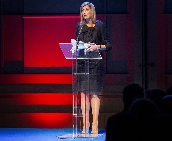 23 January 2017 - Queen Maxima attend the annual NL-Groeit Event in The Hague - dress by Natan