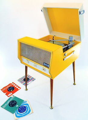 Dansette record player. in YELLOW!