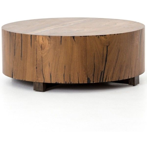 Hudson Round Natural Wood Block Coffee Table 1 565 Liked On Polyvore Featuring H Round Wood Coffee Table Round Wood Accent Table Round Wooden Coffee Table