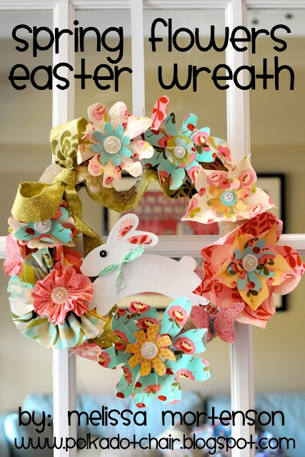 Easter wreath: Spring Flowers, Flowers Easter, Baking Shops, Flowers Wreaths, Paper Flowers, Easter Wreaths, Spring Wreaths, Wreaths Ideas, Fabrics Flowers