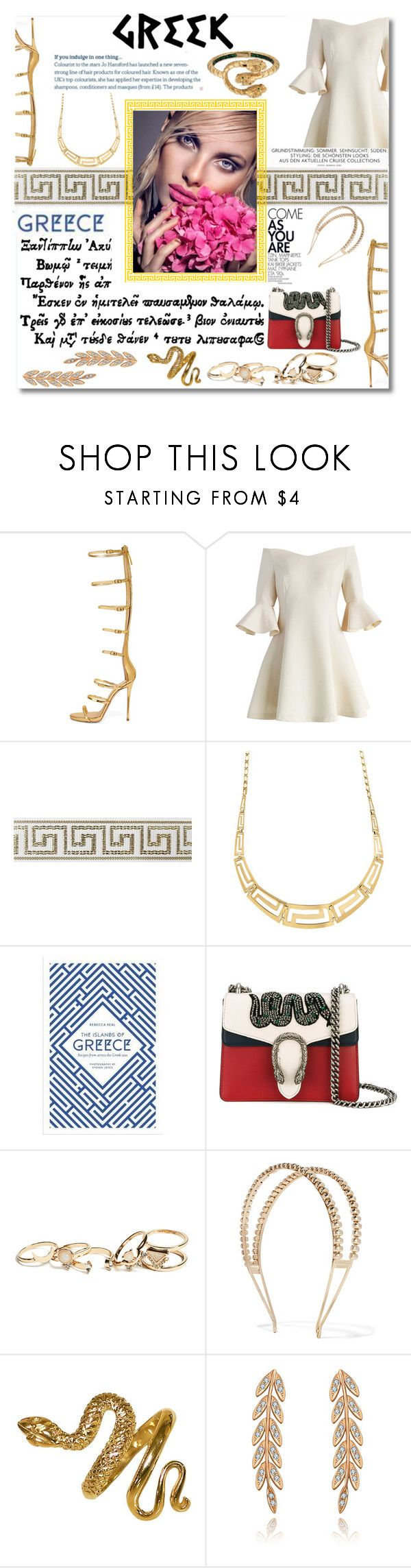 """I am Afrodit"" by fardaniyah ❤ liked on Polyvore featuring WithChic, Chicwish, Dioni, Gucci, GUESS and Rosantica"