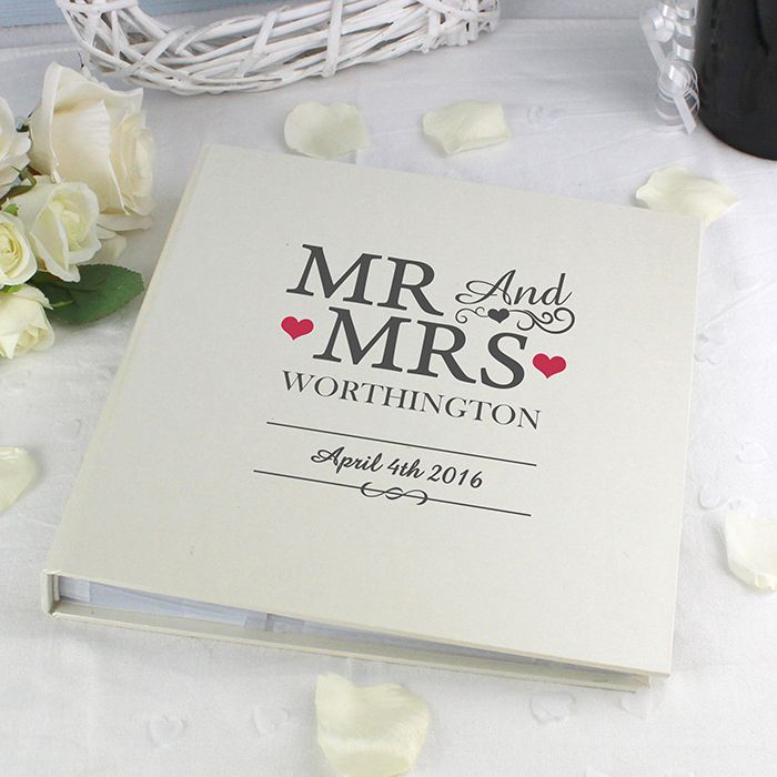 """This Mr And Mrs Album with Sleeves can be personalised with a surname up to 15 characters and a date up to 20 characters. The wording ''Mr And Mrs'' is a fixed part of the design.  There are 25 sleeved pages (50 sides), in this deluxe satin sheen finish bookbound album.  The flexibility of the sleeves allow up to 2x (6"""" x 4""""), 1x (7"""" x 5"""") or 1x (8"""" x 6"""") photos per page.  Surname will appear in capitals as standard.  Ideal for Weddings, Anniversary gifts, Engagement presents."""