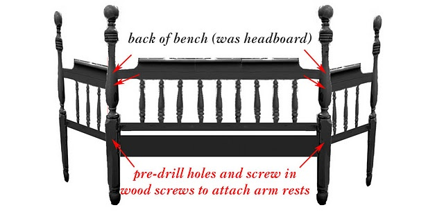 diy directions to turn headboard/footboard into a bench