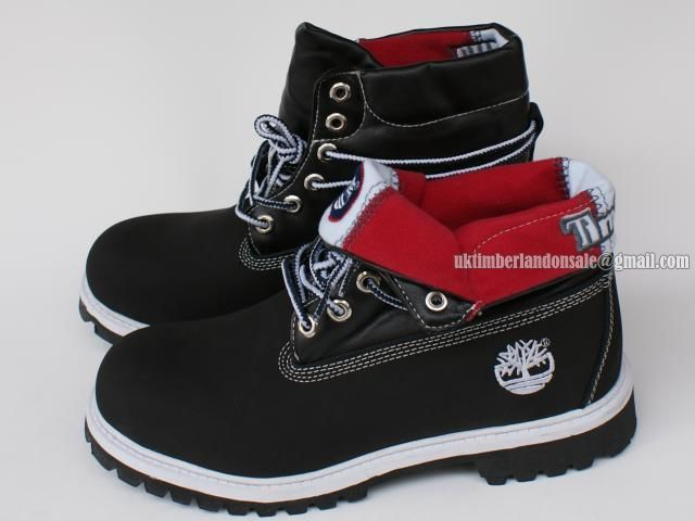 Timberland Women Basic Roll-Top Waterproof Boot With Black and Red $ 76.00