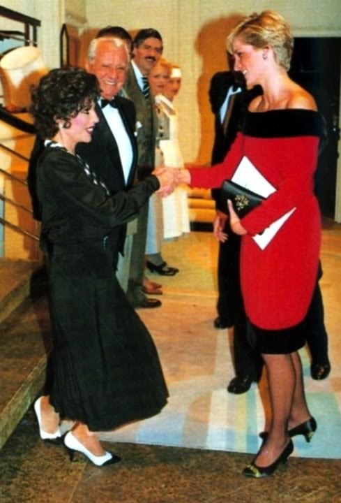 """September 24, 1990: Princess Diana with Joan Collins after a charity performance of the play """"Private Lives"""" in London."""