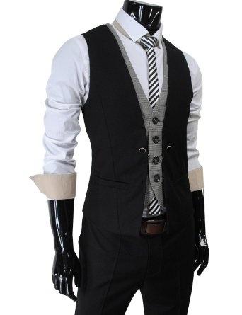 TheLees Mens premium layered style slim vest waist coat: Clothing