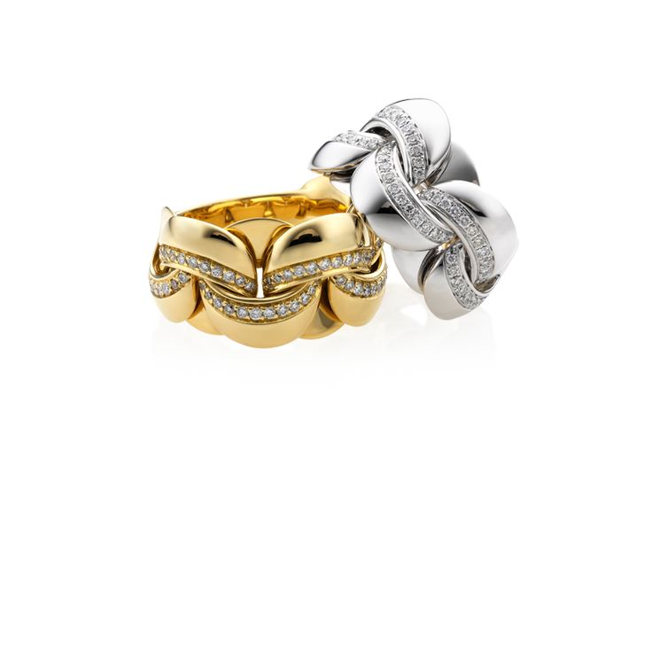 CHIMENTO yellow and white gold with diamonds Infinity rings.