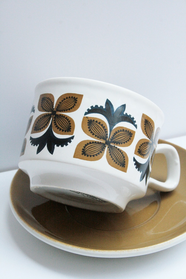 Retro Design Vintage Staffordshire Cup and saucer .