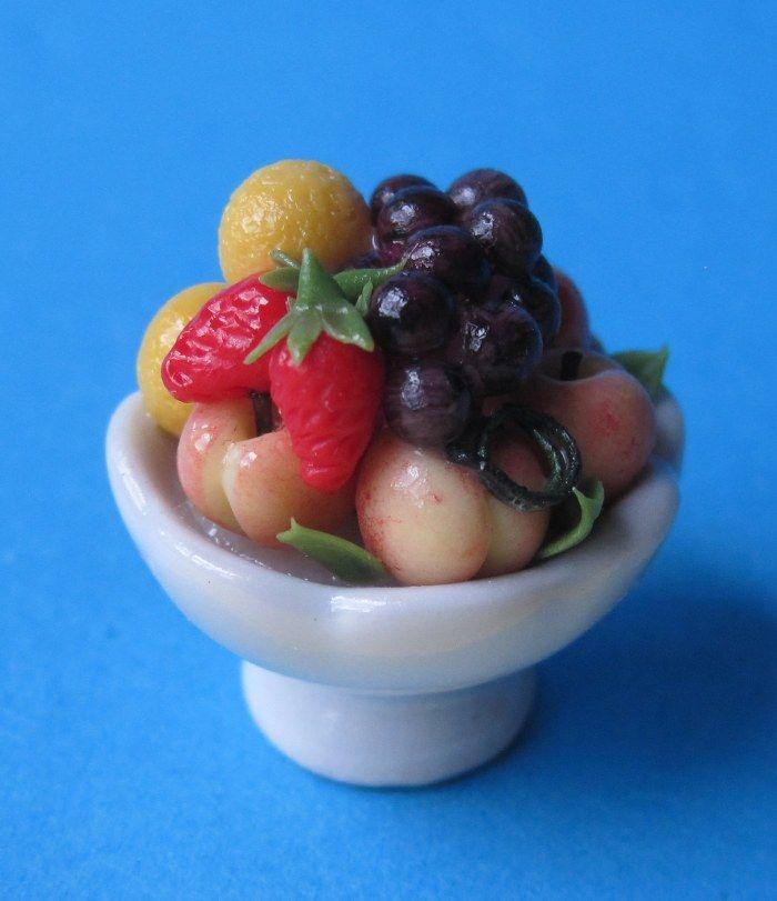 Früchtekorb Obstschale für das Puppenhaus Dekorationen Miniaturen 1:12