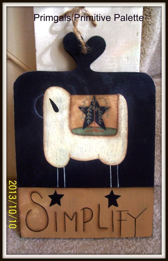 Primitive Sheep Simplify Wood Plaque Wall Hanging Home by Primgal, $15.95
