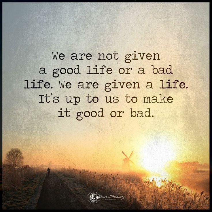 We are not given a good life or a bad life. We are given a