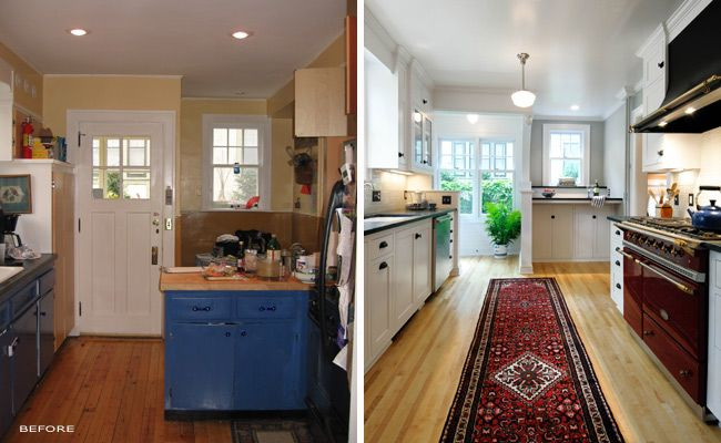 25 best images about kitchens before and after on for Galley kitchen remodel before and after