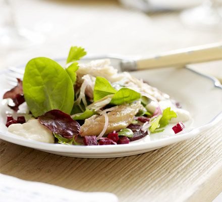 Smoked mackerel salad with beetroot & horseradish dressing. MMM smoked mackerel.