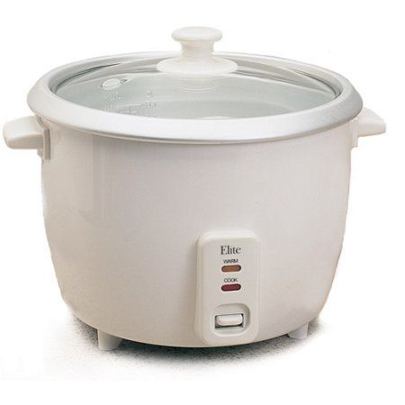 Elite Cuisine 3-Cup Rice Cooker, White