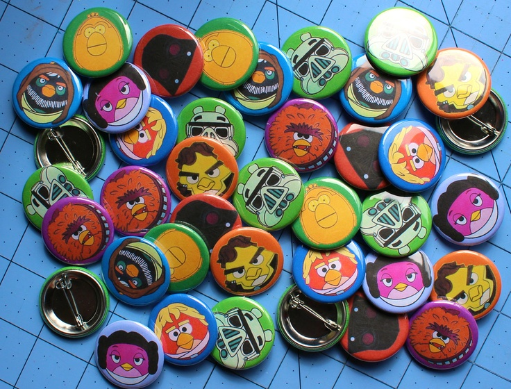 Angry Birds Star Wars Party Favors Buttons Pins.