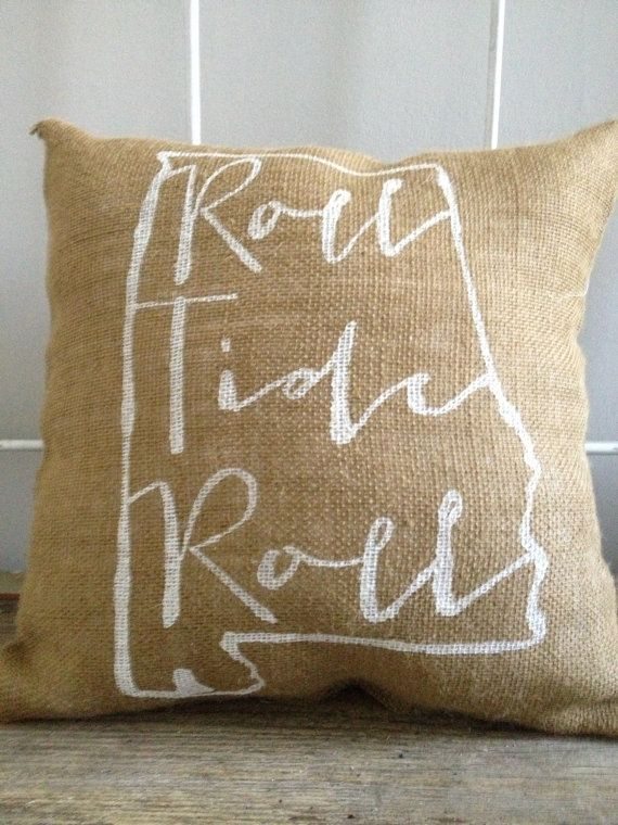 University of Alabama burlap pillow Roll Tide by TwoPeachesDesign