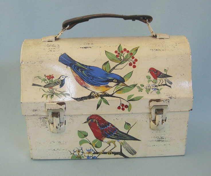 Vintage Decoupage Lunch Box With Birds, Leather Handle - Great Purse!