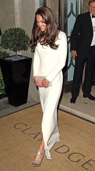 Kate in a Roland Mouret's Lombard gown and Jimmy Choo sandals teamed with a matching clutch at The Thirty Club, Claridge's. May 8, 2012.