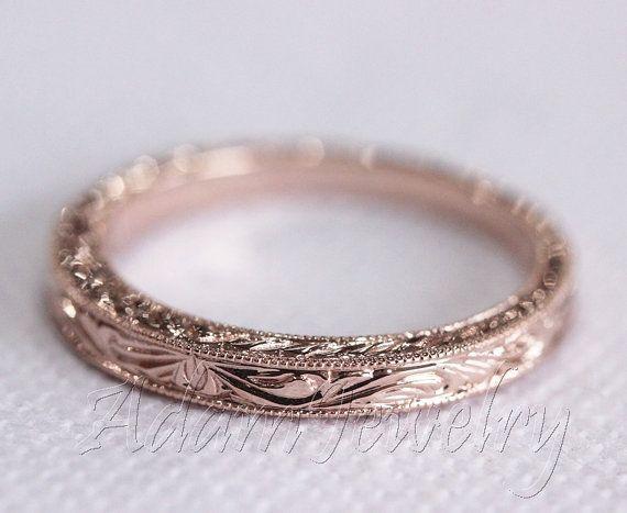 Design antique 14k or / Rose or / jaune or bandeau blanc Ring / bande / promettent Ring / bague de fiançailles