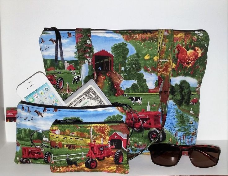 Handmade Zipper Tote Bag Shoulder Handbag Purse Farmall Tractor Farm Cow Chicken #handmade #shoulderbag #handbags #farmall #farmalltractor  #gift #animals #barn #country #farm #farmhouse