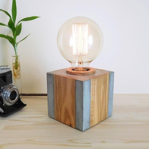 Concrete And Wood Edison Table Lamp Dimmable Nightstand Lamp