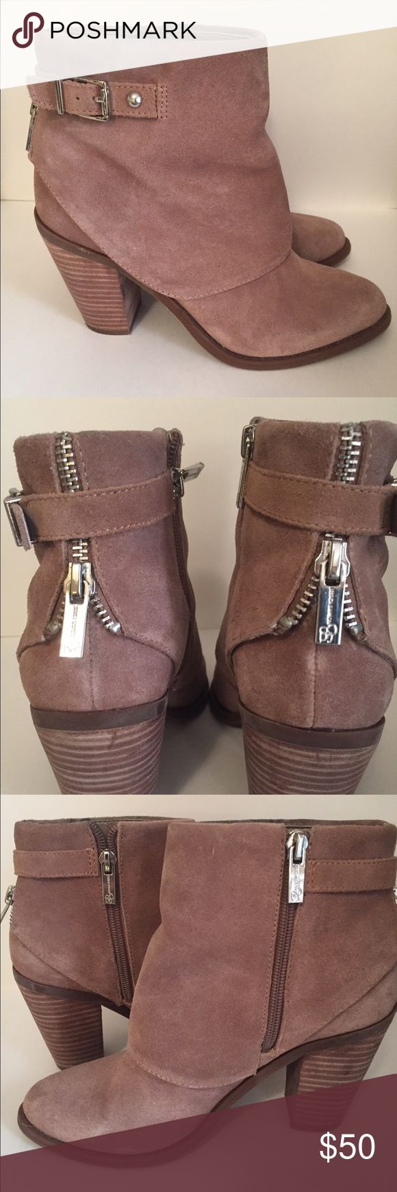 Taupe Jessica Simpson booties Taupe Jessica Simpson booties in suede. Great with jeans and little dresses. Jessica Simpson Shoes Ankle Boots & Booties