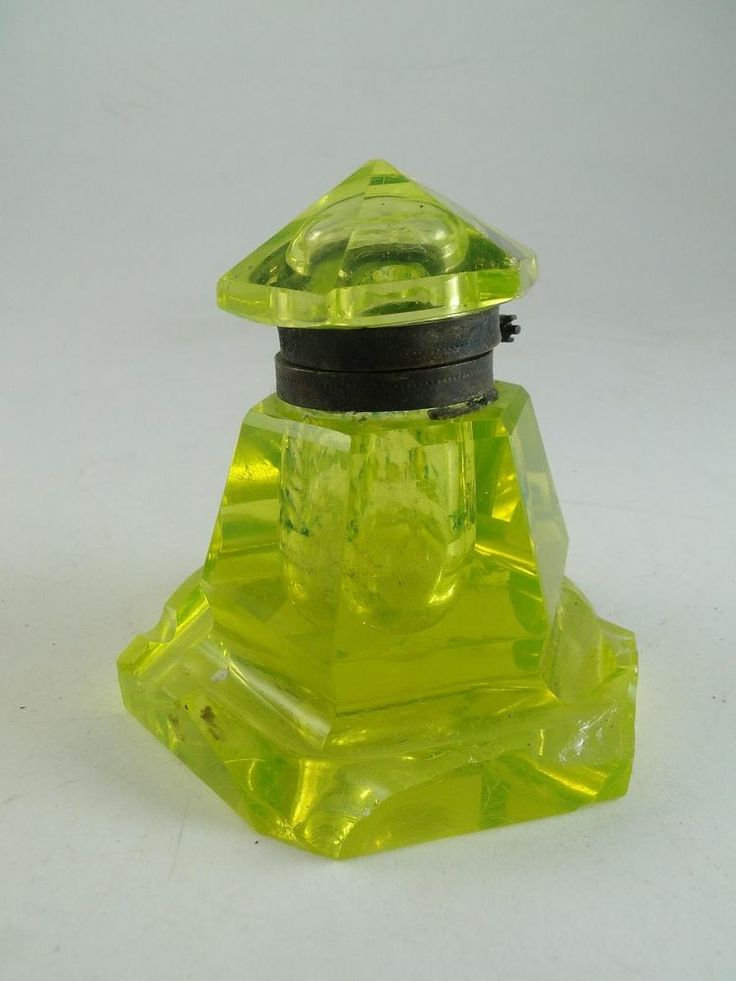 Antique Pyramid Cut Glass Inkwell
