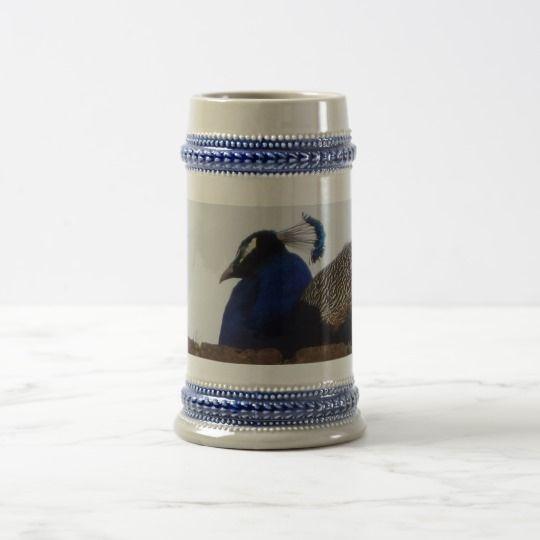 Peacock Gray /Blue 22 oz Stein #zazzle #Peacock #Gray #Blue #22oz #Stein #beer #gift #giftidea