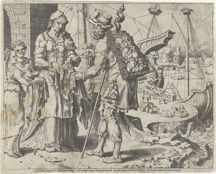 De Deugdzame vrouw verkoopt haar waren, Dirck Volckertsz Coornhert, Cornelis Bos, 1555