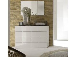 Commode design laquée blanche et wengé Velia.
