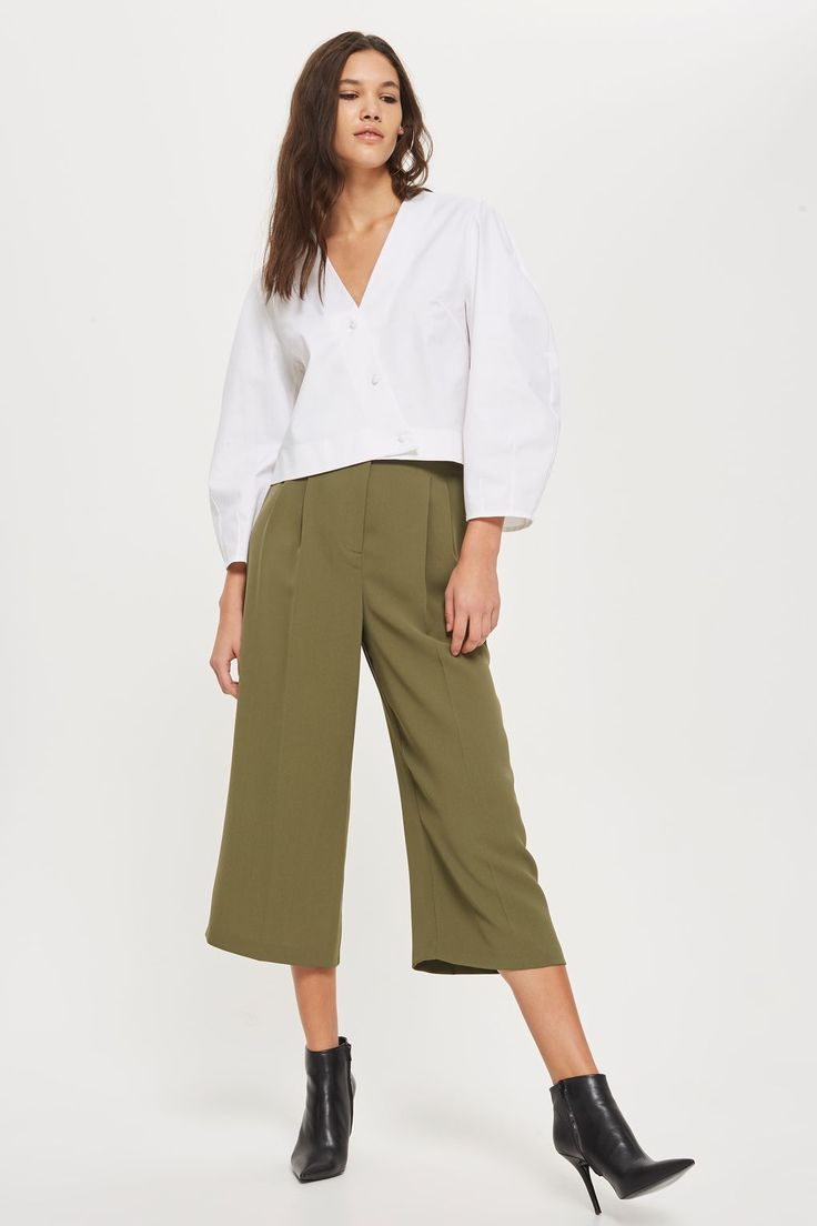 Wide Cropped Utility Trousers