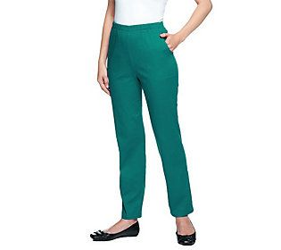 Denim & Co. Original Waist Stretch Petite Pants with Side Pockets