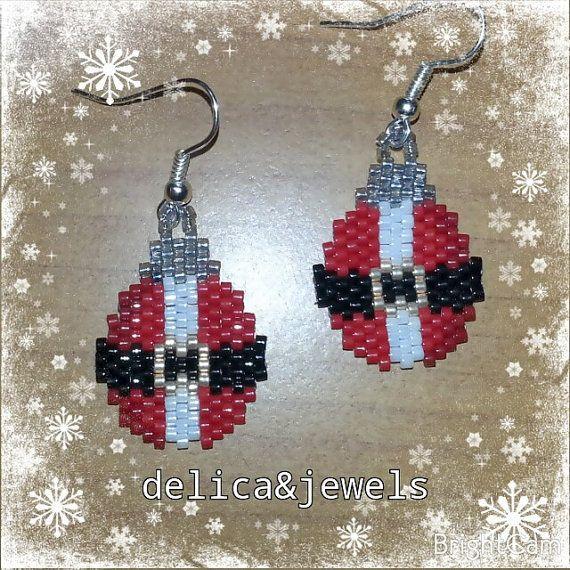 Christmas Bead Earrings by Delicandjewels on Etsy