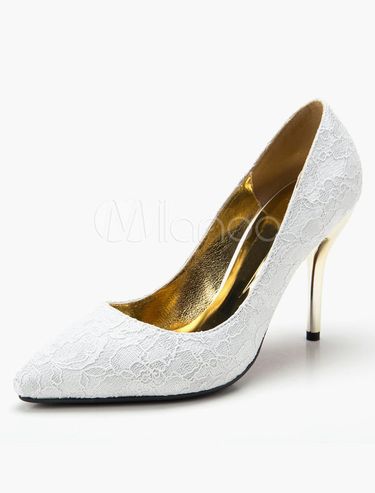 Chaussures de mariée à talons en dentelle talons couverts
