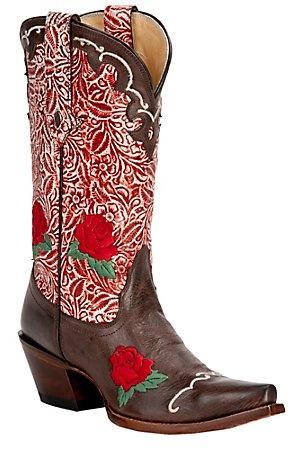 NEW! -   Cowboy Boots! Tony Lama® Vaquero™ Ladies Moka Brown w/Berry Floral Tooled Top Snip Toe Western Boot