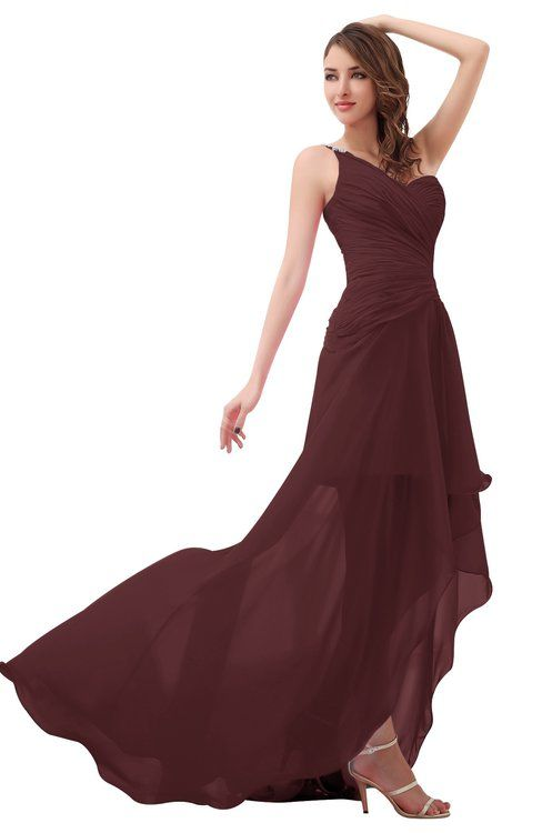 ff01787a251 ColsBM Paige Burgundy Romantic One Shoulder Sleeveless Brush Train Ruching  Bridesmaid Dresses