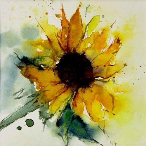"""""""Sunflower"""" - Watercolor by Annemiek Groenhout (Dutch, b. 1946)"""