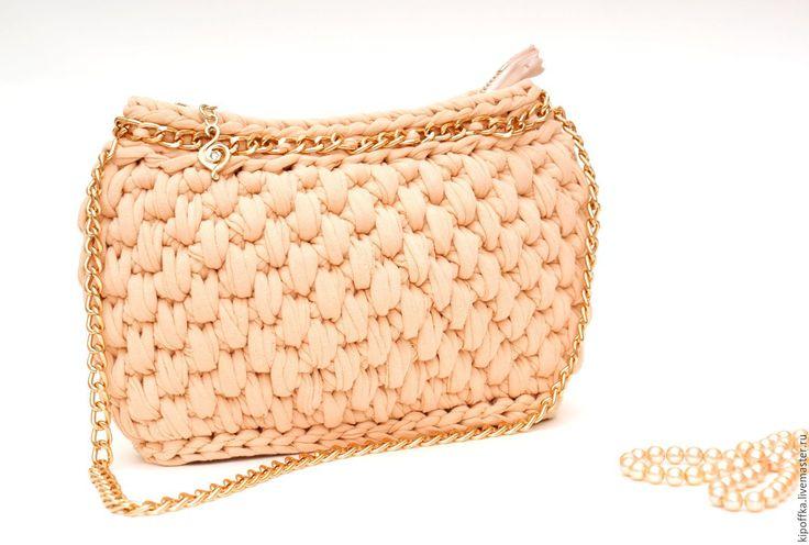 Купить Сумочка вечерняя вязаная пыльная роза - кремовый, розовая сумка, пудра, пудровый