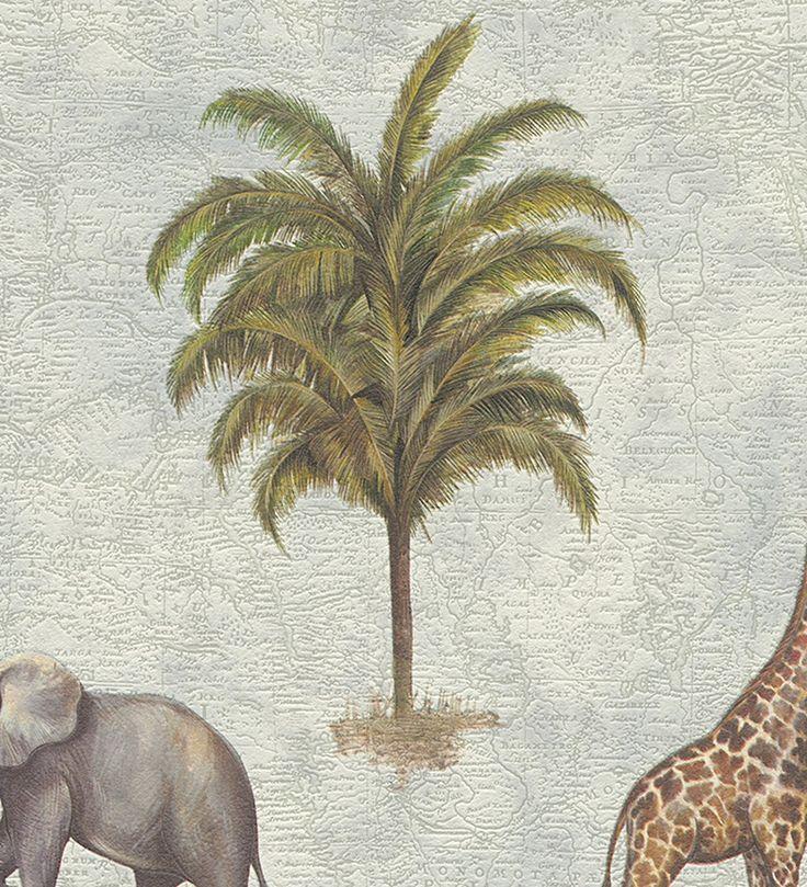Papel pintado jirafas y elefantes diseño safari africano - 1142390