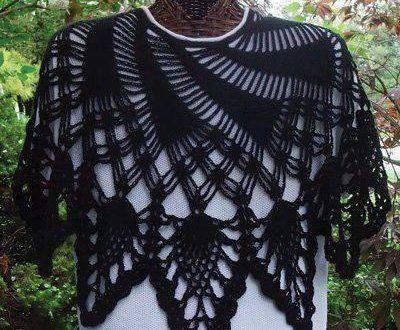 Siyah örgü bayan omuz şalı
