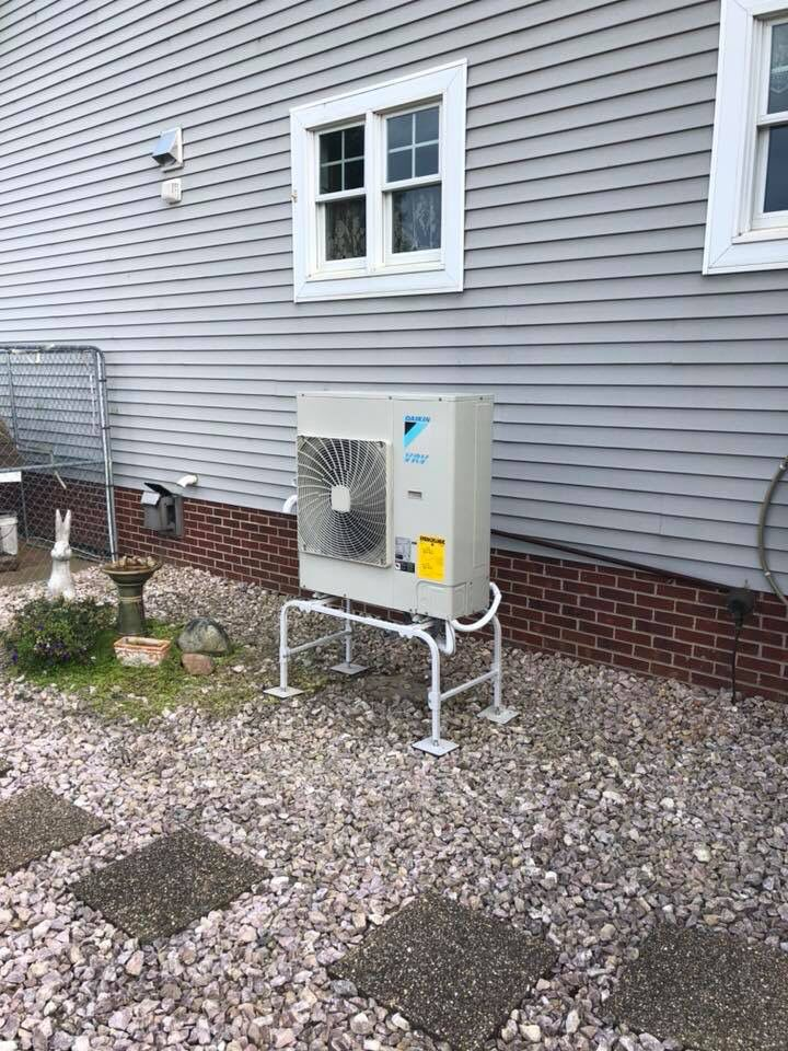 Daikin Vrv Life Heat Pump Connected To A Modulating Gas Furnace And Indoor Ductless Is Wall Mount Unit Installed By Warren Systems Heating And Air Conditioning