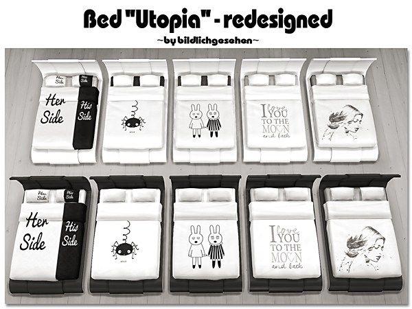 Redesigned Utopia Bed by Bildlichgesehen at Akisima • Sims 4 Updates