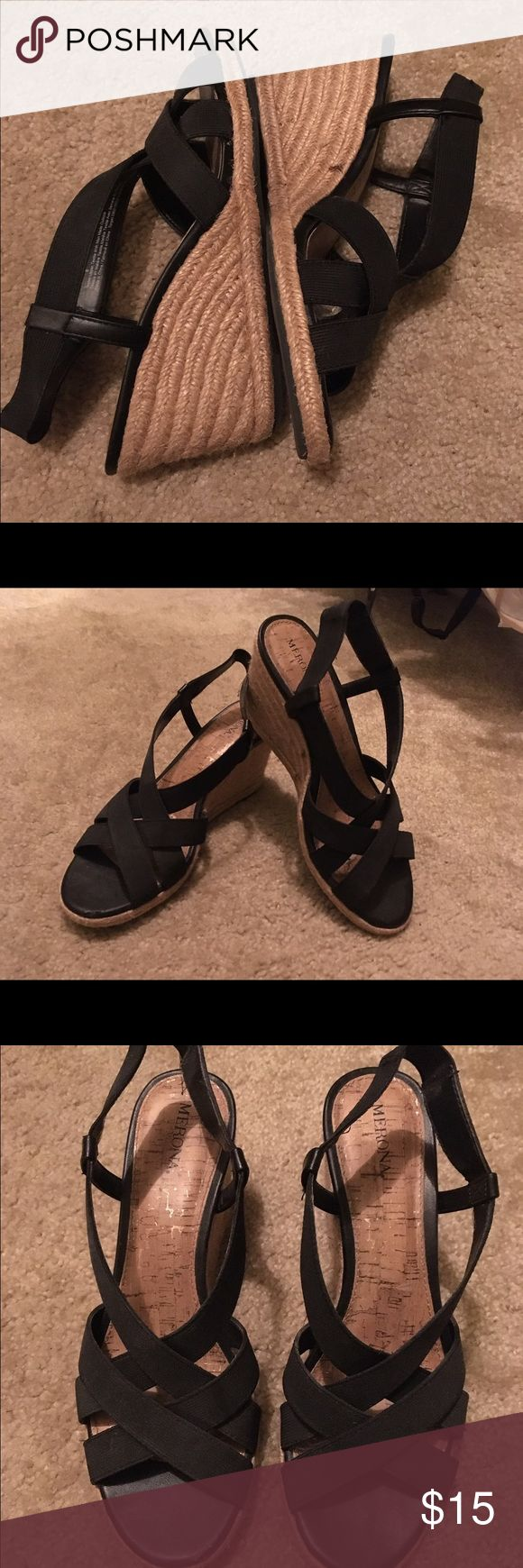 Strappy Black Espadrille Wedges Strappy black upper with the natural Espadrille wedge bottom.  No wear to the inner or outer sole. Only worn once. Extremely comfortable. Shoes Wedges