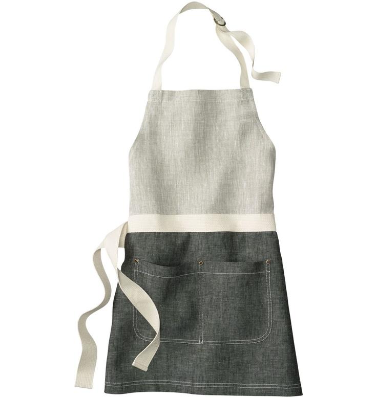 Black and Oatmeal Linen Apron // Rejuvenation