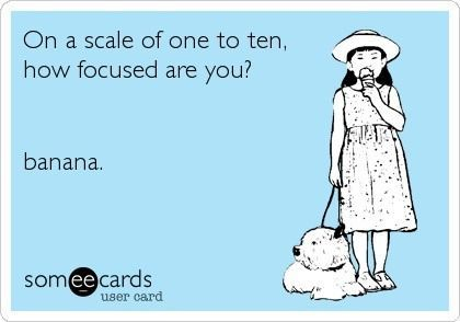 On a scale of one to ten, how focused are you? ................ banana. LOL. That's the way I Pinterest. #Funny #E_card #Attention_deficit