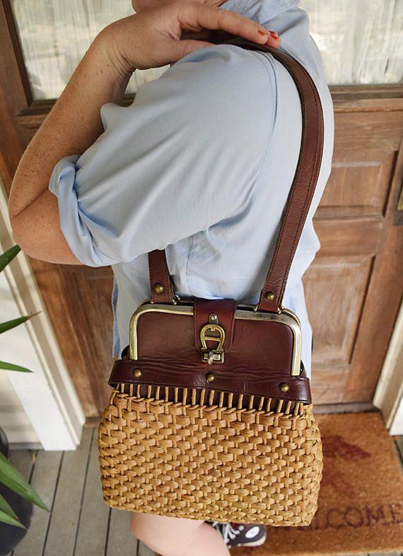 Etienne Aigner Leather Purse Woven Straw Raffia 1970s Handbag