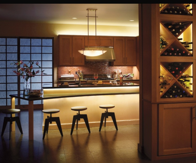 lighting on counter, upward lighting on wall, and accent on wine bottles