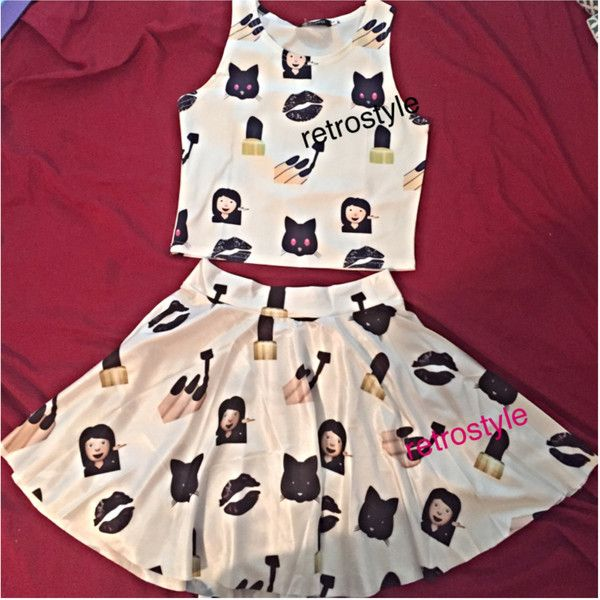 Cute Emoji Ladies Mini Skater Skirt Emoji Shirt Ladies Crop Top Emoji... ($22) ❤ liked on Polyvore featuring skirts, mini skirts, black and women's clothing
